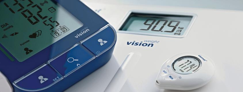 Das Gesundheits-Set visomat vision bestehend aus Blutdruckmessgerät, Schrittzähler und Waage