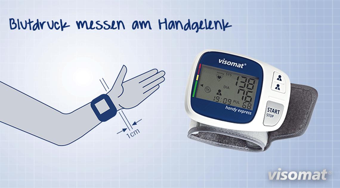 Das Bild zeigt die mobile Blutdruckmessung am Handgelenk.
