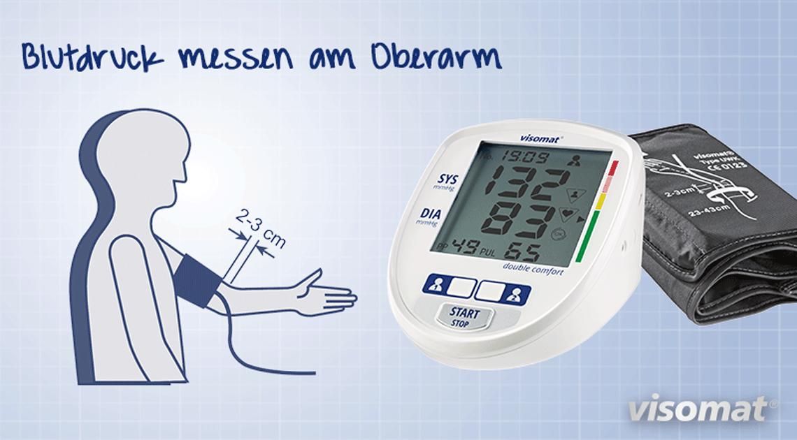 Das Bild zeigt die klassische Blutdruckmessung am Oberarm, die von vielen Ärzten empfohlen wird.