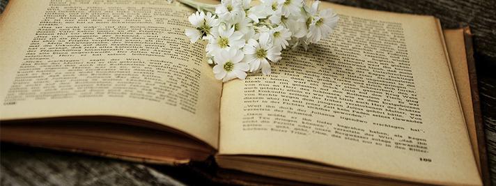 Aufgeschlagenes Ratgeber-Buch mit Blumen