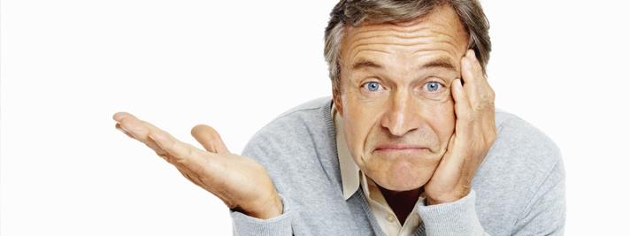 Was ist Bluthochdruck? Der Mann ist sich nicht sicher, welche Symptome es gibt.