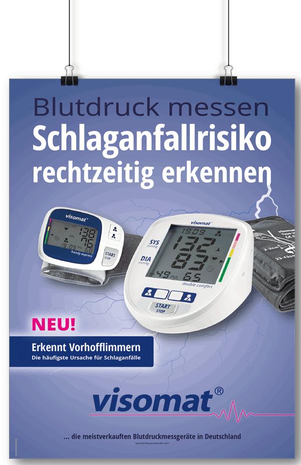 Das Bild zeigt die Blutdruckmessgeräte visomat double comfort und visomat handy express mit der Funktion Vorhofflimmern erkennen