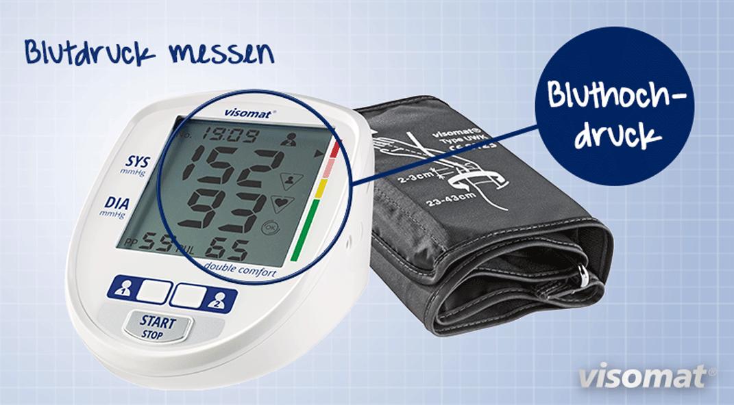 Auf dem Bild ist ein Blutdruckmessgerät mit Digitalanzeige zu sehen das Bluthochdruck anzeigt.
