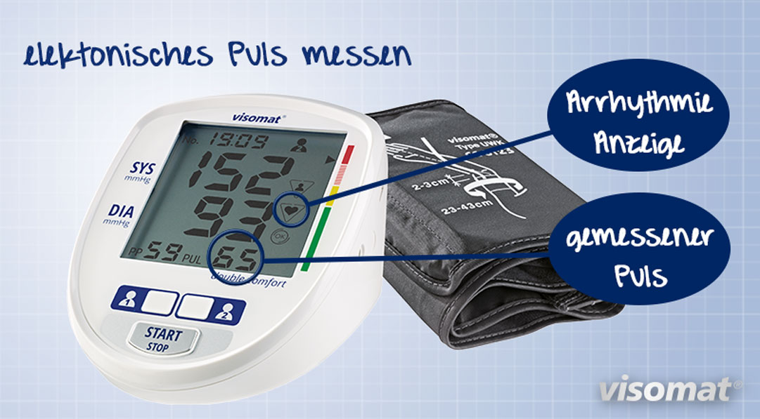 Die Grafik zeigt das Blutdruckmessgerät visomat double Comfort, das den Puls misst und dabei Herzrhythmusstörungen und Vorhofflimmern erkennen und mit einem Symbol darstellen kann.