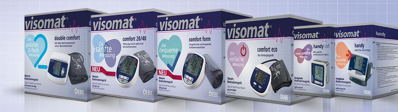 Die visomat-Produktpalette: Blutdruckmessgeräte für Oberarm und Handgelenk.